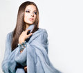 Girl in blue mink fur coat beauty fashion model Royalty Free Stock Photography