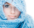 Girl in a blue scarf Royalty Free Stock Photo