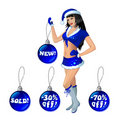 Girl in blue suit of Santa with Christmas balls Royalty Free Stock Photos
