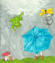 Girl with blue umbrella acrylic illustration frog and mouse Royalty Free Stock Image