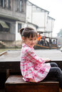 Girl on the boat pretty chinese smiles lovely Royalty Free Stock Image