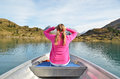 Girl on the boat prow of Royalty Free Stock Image