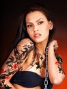 Girl with body art. Royalty Free Stock Images