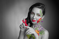 Girl with body art wigh flower black and white partly color Stock Images