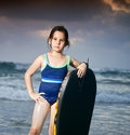 Girl boogie surf board Royalty Free Stock Images