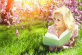 Girl with book blonde young woman lying on the grass under cherry blossom outdoor student Stock Photos