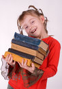 The girl with books Stock Image