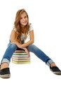 Girl on books Royalty Free Stock Images
