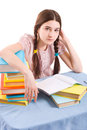 The girl with books Stock Photography