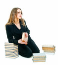 Girl and books Royalty Free Stock Photography