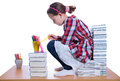Girl with books studio shoot isolated Stock Images