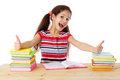Girl with books and thumbs up sign Royalty Free Stock Photos