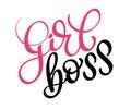 Girl boss text on white background. Calligraphy lettering illustration EPS10