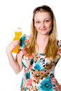 A girl with a bottle of orange juice. Royalty Free Stock Photo