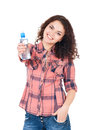 Girl with bottle of water happy beautiful on white background Stock Photo