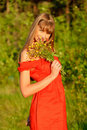 The girl with a bouquet Stock Photo