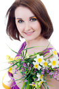 A girl with a bouquet Stock Photo