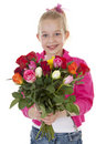 Girl with bouquet of colorful roses Stock Image