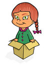Girl in the box Royalty Free Stock Photo