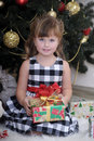 Girl with a box with a gift near the Christmas tree Stock Image