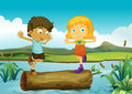 A girl and a boy above a trunk floating illustration of in the river Stock Photos