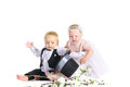 Girl and boy in a dress the bride and groom Royalty Free Stock Photos