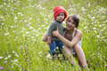 Girl and boy in field Royalty Free Stock Photo