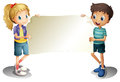 A girl and a boy holding an empty banner illustration of on white background Stock Images