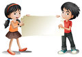 A girl and a boy holding an empty signage illustration of on white background Stock Image