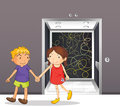 A girl and a boy holding hands near the elevator illustration of Stock Images