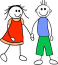 Girl and boy. illustration Stock Images
