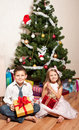 Girl and boy near a fir-tree Stock Photos