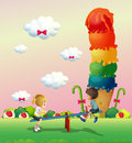 A girl and a boy playing at the park with a giant icecream illustration of Stock Photography