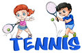 A girl and a boy playing tennis illustration of on white background Royalty Free Stock Photo
