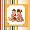 Girl and boy plays with toys Royalty Free Stock Photography