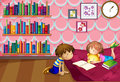 A girl and a boy reading inside a room illustration of Royalty Free Stock Photography