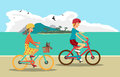 Girl and boy ride the bike on the beach. Healthy leisure