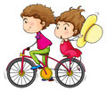 A girl and a boy riding in a fast moving bike illustration of on white background Royalty Free Stock Photography