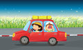 A girl and a boy riding in a red car illustration of Royalty Free Stock Image