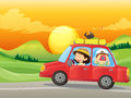 A girl and a boy riding in a red car illustration of Royalty Free Stock Photo