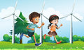A girl and a boy running in the hill with windmills illustration of Stock Photos