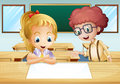 A girl and a boy watching the empty signboard inside the classro illustration of classroom Stock Images