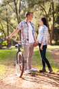 Girl with boyfriend pretty teenage at the park Royalty Free Stock Photo