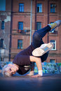 Girl break-dancer posing Stock Photography