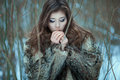 Girl breathes in the cold hands closeup portrait sweet Stock Photography
