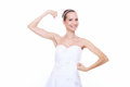 Girl bride shows her muscles strength and power Stock Image