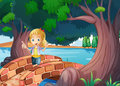 A girl at the bridge near the giant trees illustration of Stock Images