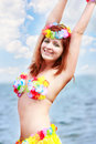 Girl in bright bikini on sea background Royalty Free Stock Photo