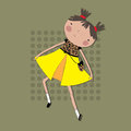 Girl in a bright dress dancing on a background of flowers. Royalty Free Stock Photo