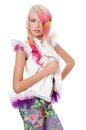 Girl with a bright make-up and multi-coloured strand in hair Royalty Free Stock Images